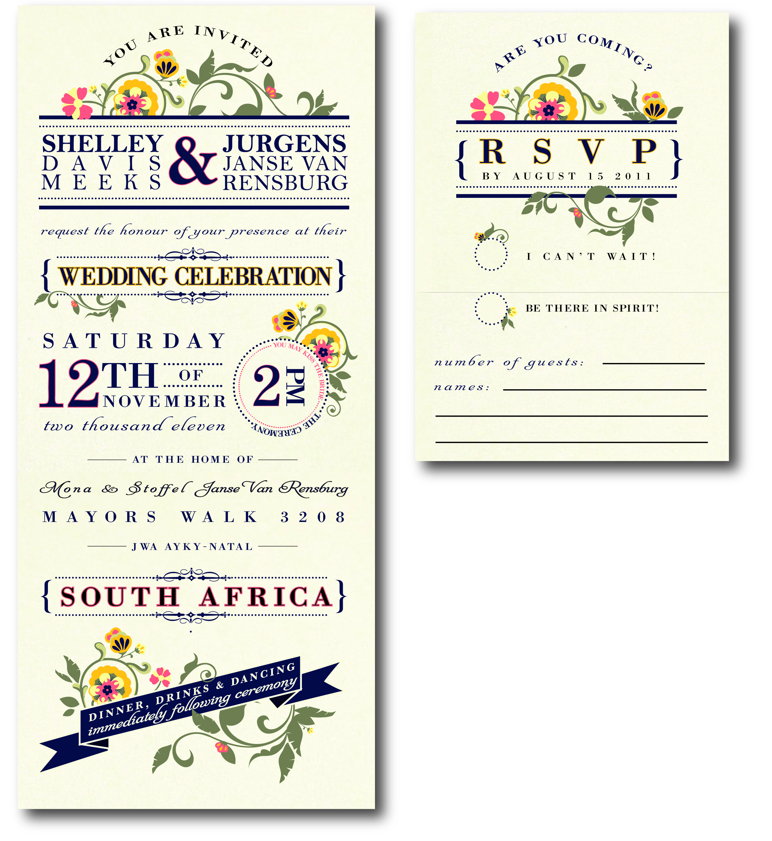 South African Wedding | Tina Alleva Design Work